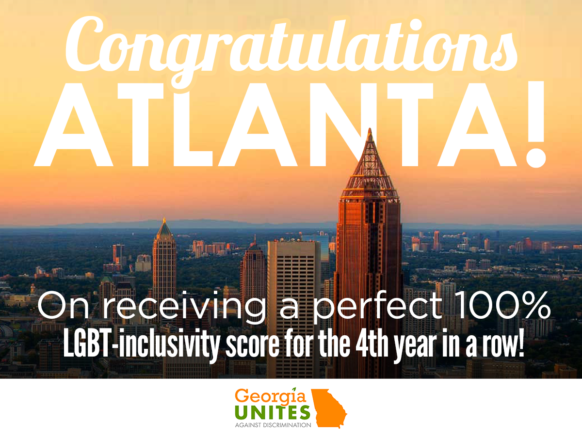 Atlanta Remains #1 in LGBT Inclusivity in the State of Georgia