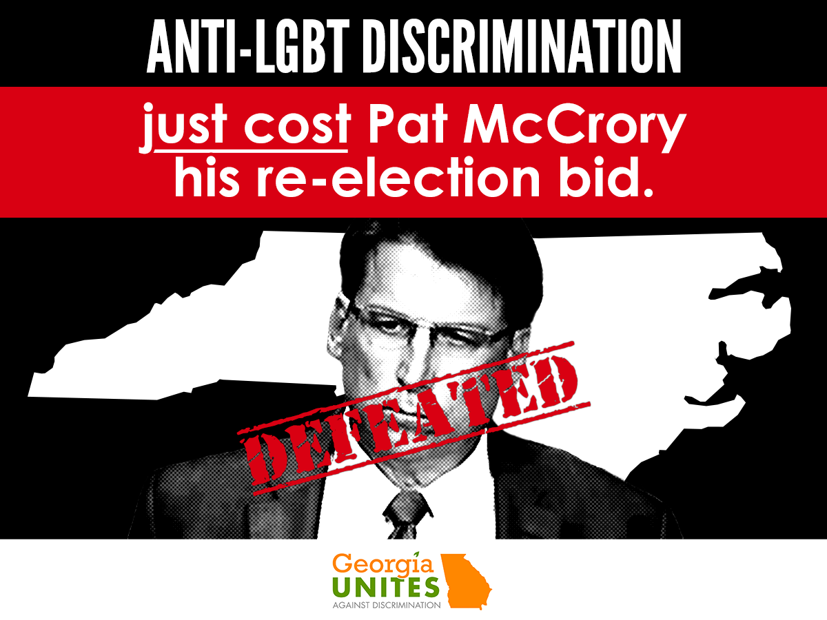 North Carolina Governor McCrory Defeated After Campaign That Hinged on His Support for LGBT Discrimination