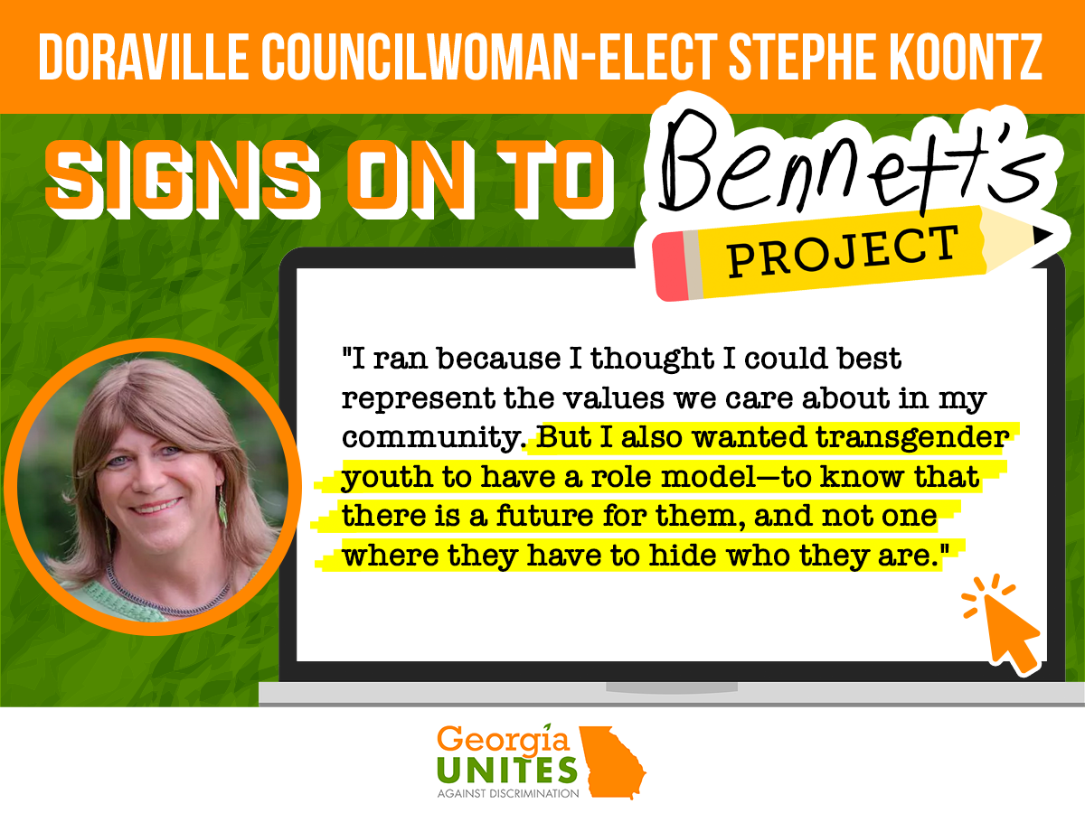 Doraville Councilwoman-elect & Georgia's Only Openly Trans Official Stephe Koontz Signs on to Bennett's Project