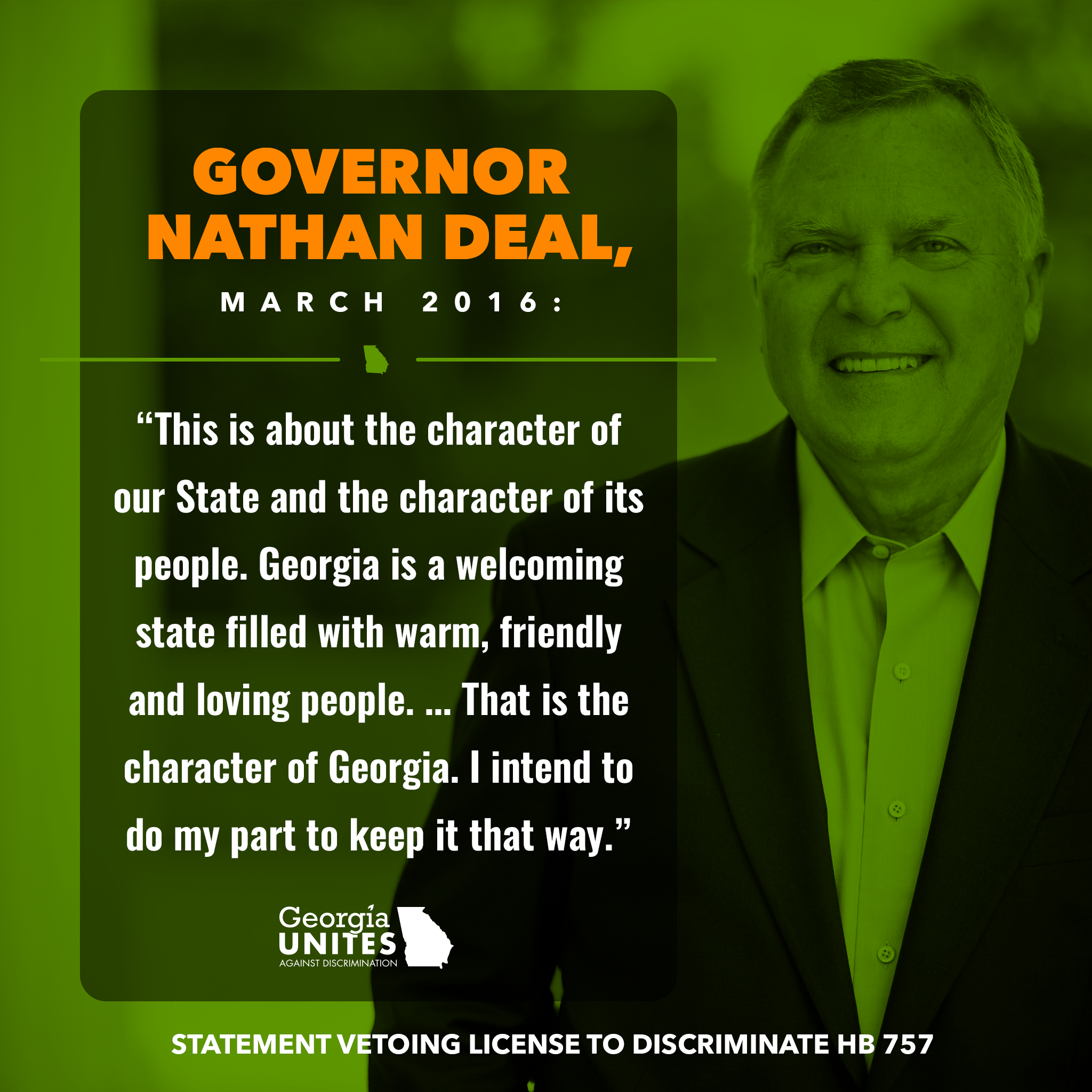 As Gov. Deal Leaves Office, Another 'Thank You' for Vetoing Notorious License to Discriminate